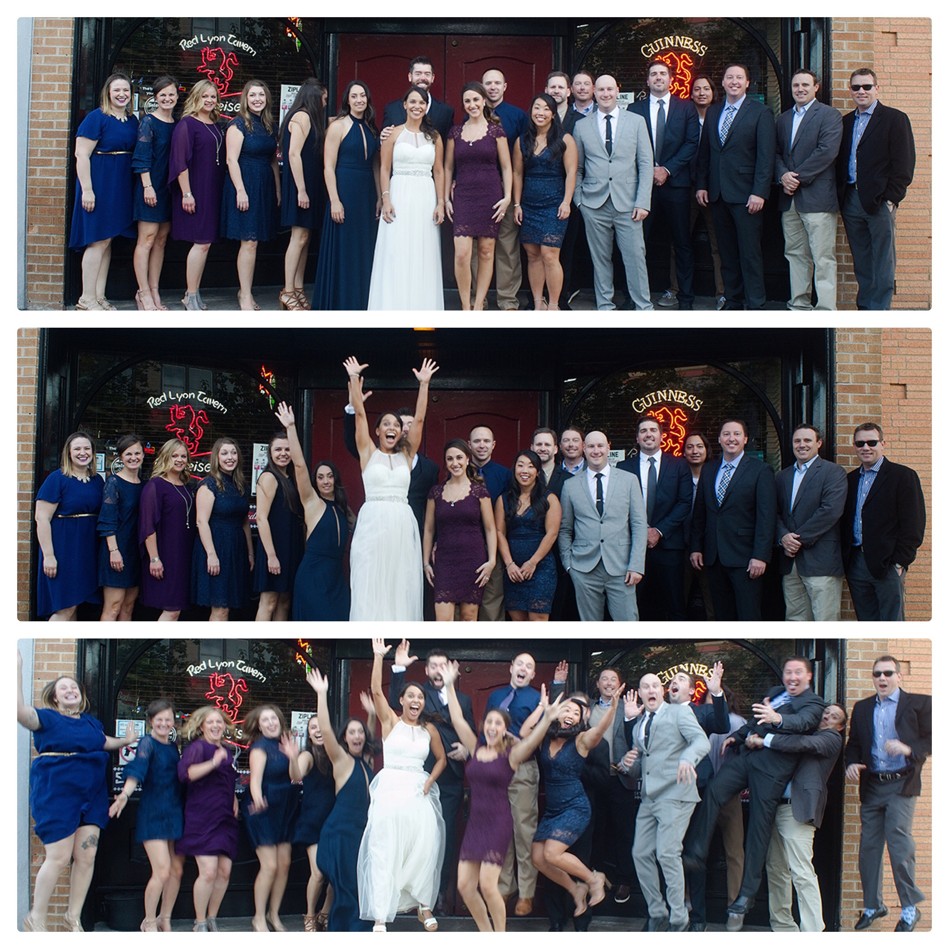 Wedding party jumping for joy at Red Lyon Tavern In Lawrence