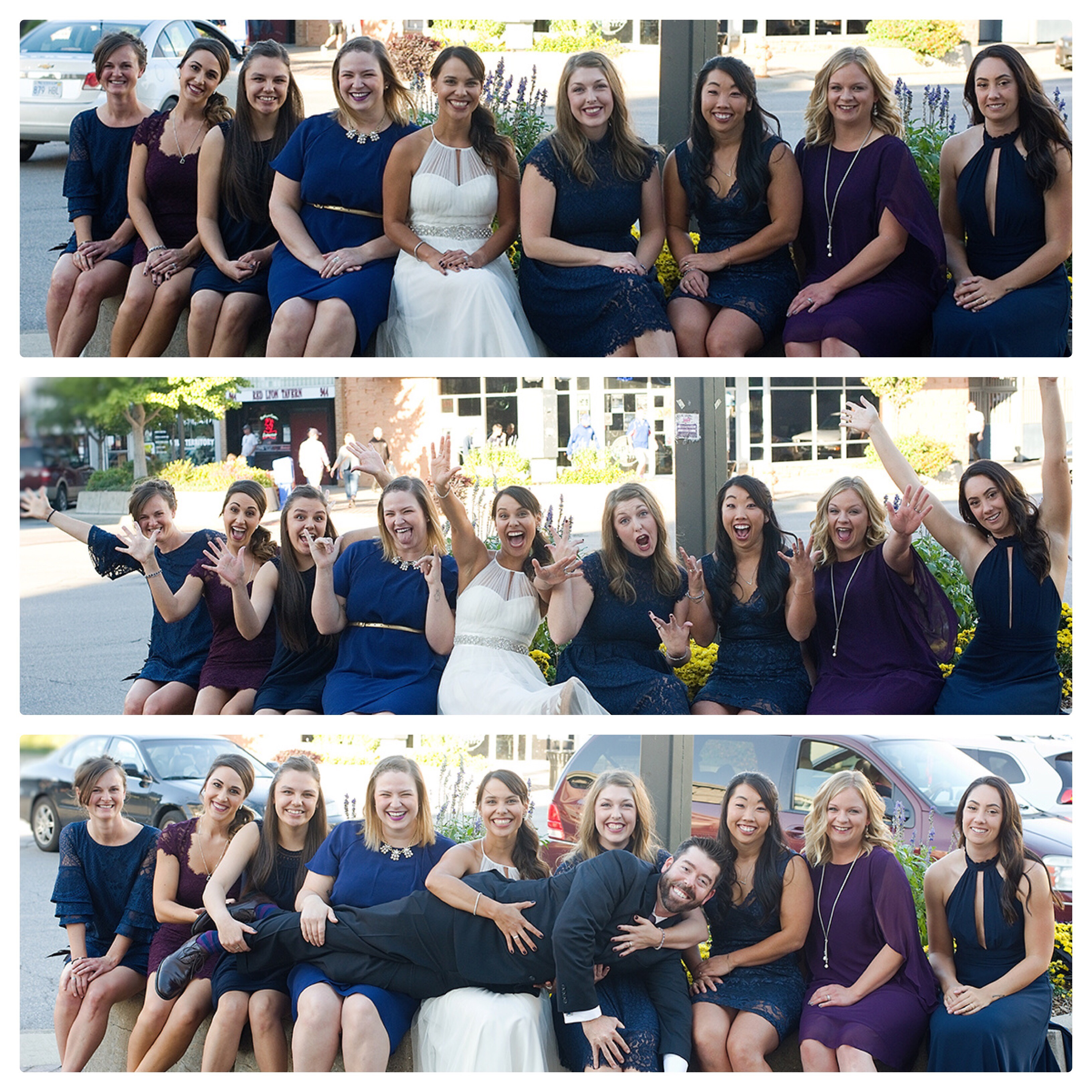 Bridal party posed for photos in Lawrence with Trina Baker Photographer